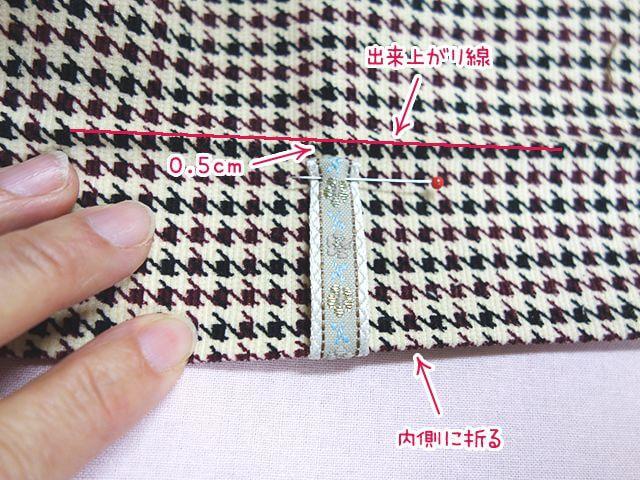 縫い代を折ってから反対側をつける
