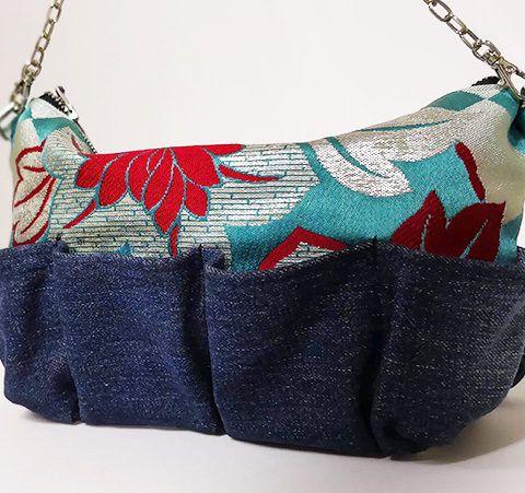 デニムリメイクの帯バッグインバッグ