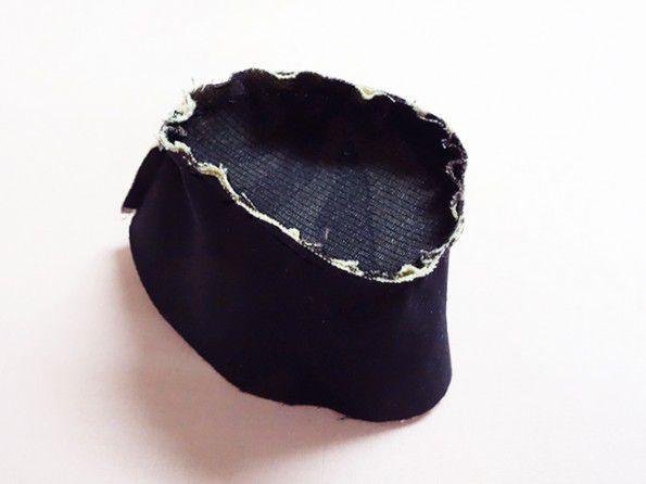 帽子のてっぺん手縫い