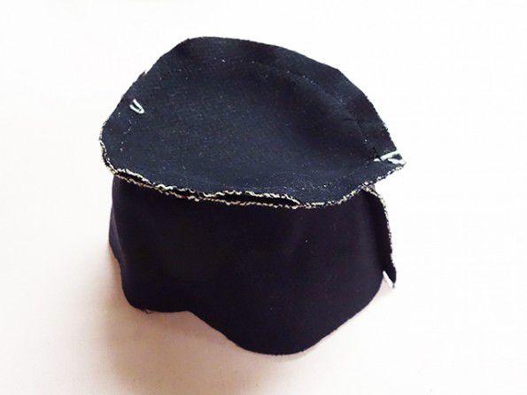 帽子のてっぺんミシン縫い
