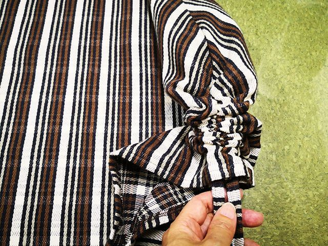 裾のリボンでシャーリング